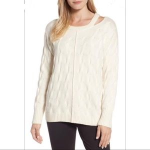 Vince Camuto Keyhole Neck Cable Pullover Sweater